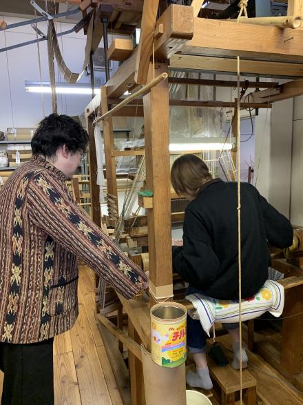 織物体験の取材